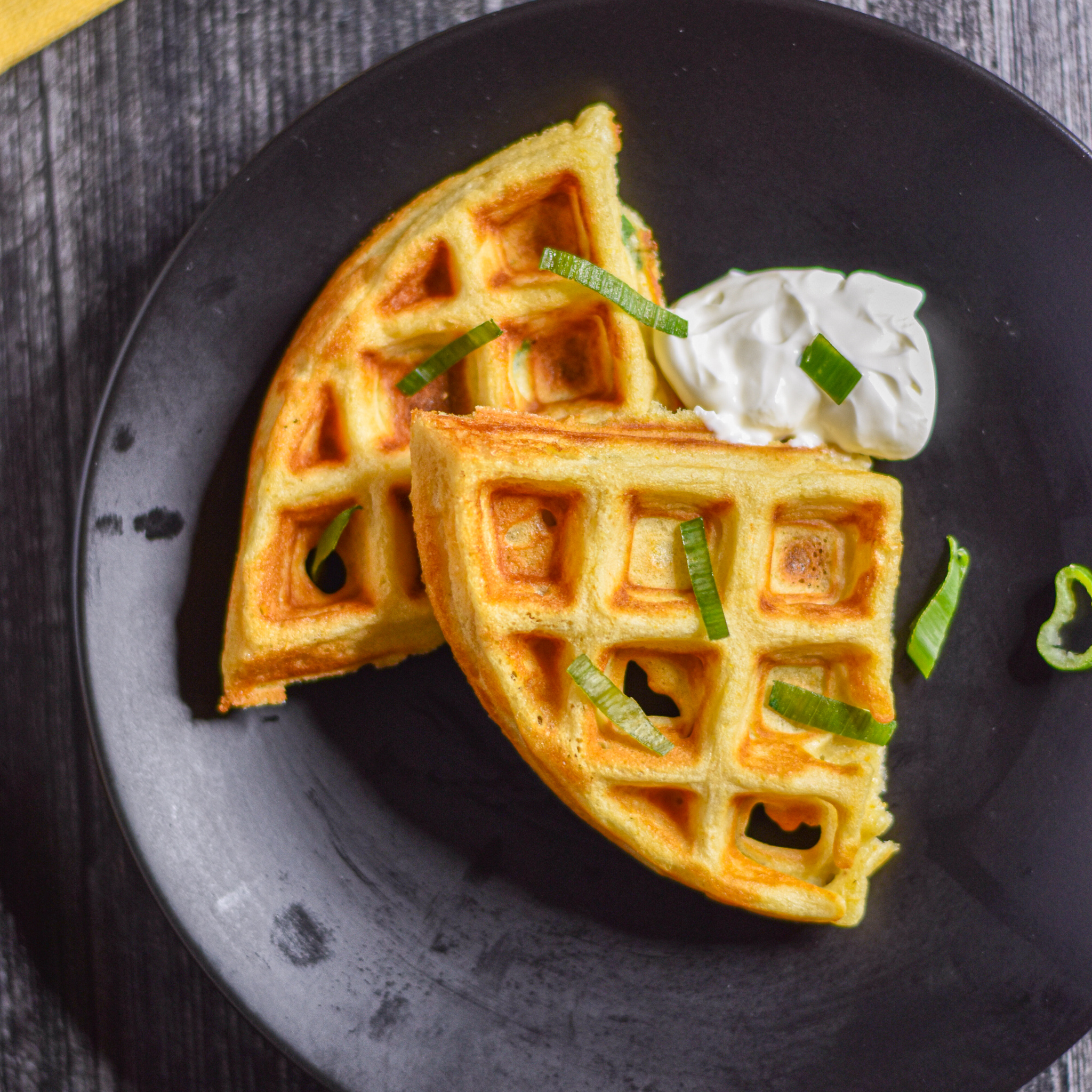 Corn Scallion Waffles by Candidly Delicious